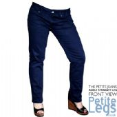 Adele Slim Straight Leg Jeans in Navy Blue | UK Size 6-8 | Petite Inseam 26 inches